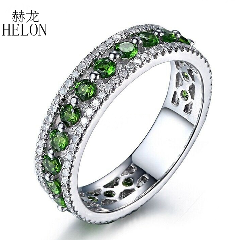 HELON Real 10k White Gold Certified 1.7CT Round Natural Diamonds & Chrome Diopside Engagement Ring Women Unique Classic JewelryHELON Real 10k White Gold Certified 1.7CT Round Natural Diamonds & Chrome Diopside Engagement Ring Women Unique Classic Jewelry