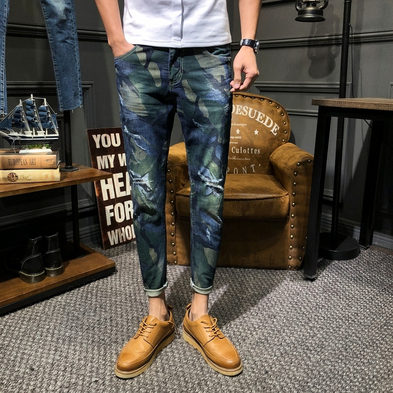 2019 Spring New Korean Version Of The Campus Wind Couple Loose Contrast Color Casual Trend Small Feet Camouflage Jeans Party-in Jeans from Men's Clothing    1