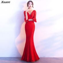 Xnxee Women Elegnat Red Lace Flare Half Sleeve Mermaid Long Prom Sexy Backless Club Party Dress