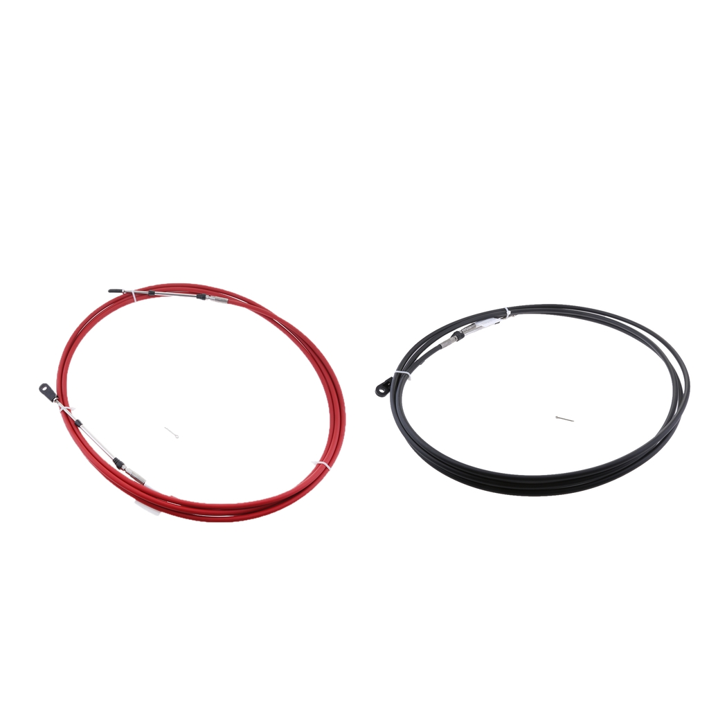 2Pcs 11Ft Engine Throttle Control Cable for Yamaha Boat Motor Outboard Red
