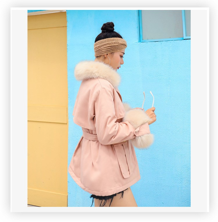 Parkas Pardessus Ouatée Femmes Manteaux Casual Moelleux D'hiver Faux Col Noir Ceinture De Coton kaki Vestes Fourrure Avec jaune rose qfFwqB