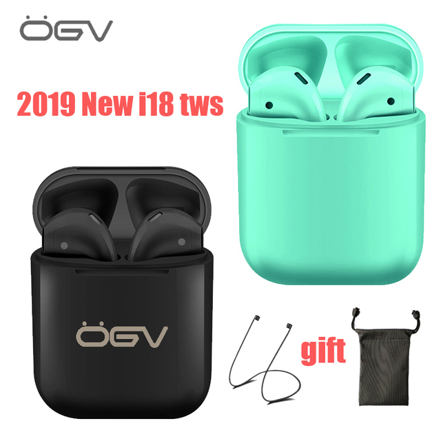 OGV 2019 Original i18 Tws 1:1  Wireless Earphone Portable 5.0 Bluetooth Headset Invisible Earbud for all smart phone