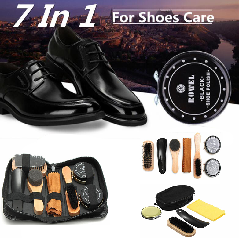 4 In 1 Shoe Shine Care Neutral Polish Brush Kit Set Leather Shoes Boots Case Plastic Shoe Horn Wood Handle Brushes Cleaning