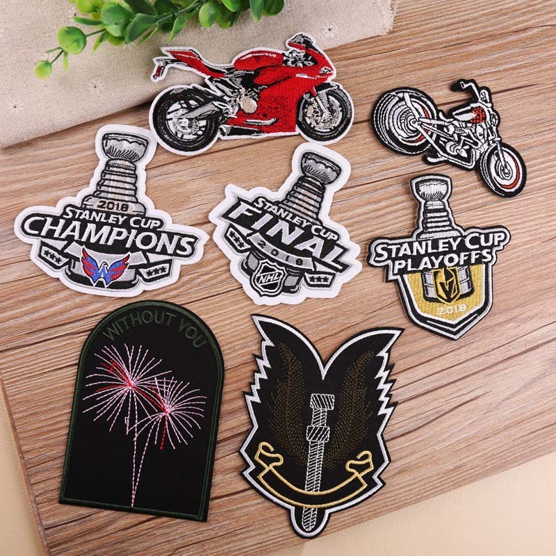 big sale c19e5 dc632 US $1.01 40% OFF|PGY STANLEY CUP CHAMPIONS Patches Embroidery Biker  Appliques Motorcycle Iron Patches For Clothes Jeans Vest playoffs  Patches-in ...