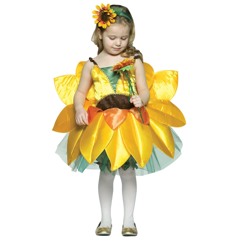 Girls Clothes Kids Fancy Dress Sunflower Halloween Cosplay Costume
