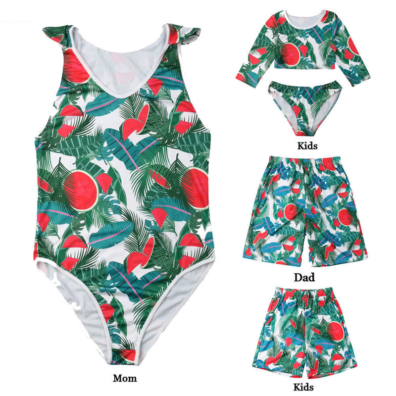 Family Matching Swimsuits Cute Floral Swimwear Bikinis Mother Father daughter Son Floral Bathing Suit Beachwear Swim wear