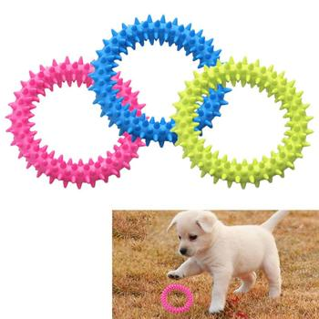 Perro mordiendo anillo de juguete de goma suave Molar juguete de limpieza de mordeduras de mascotas juguete dental aumento de la inteligencia de las mascotas herramienta