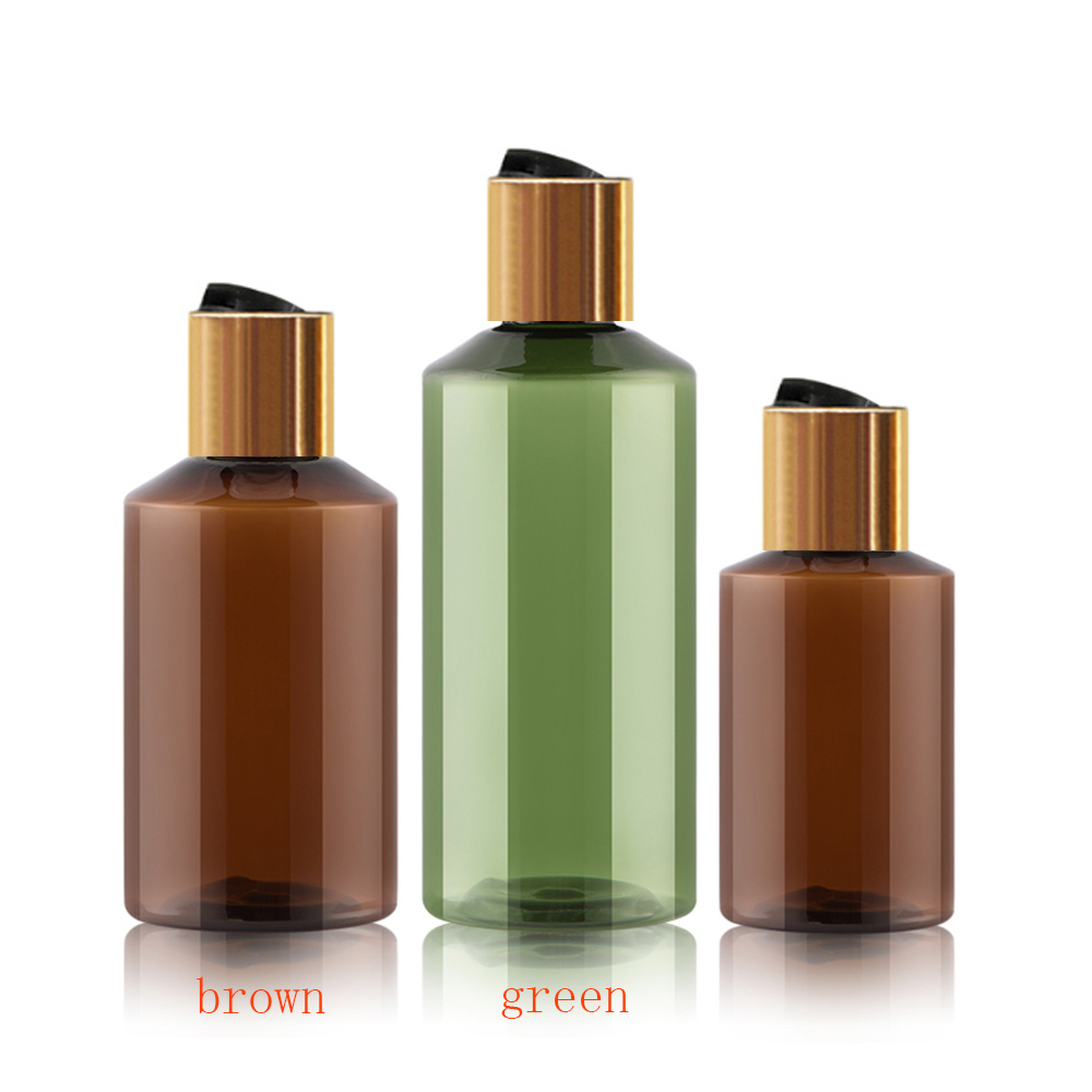 50pcs 50ml 100ml brown green empty plastic shampoo PET bottle with silver disc top cap,cream/essential oil bottle-in Refillable Bottles from Beauty & Health    1