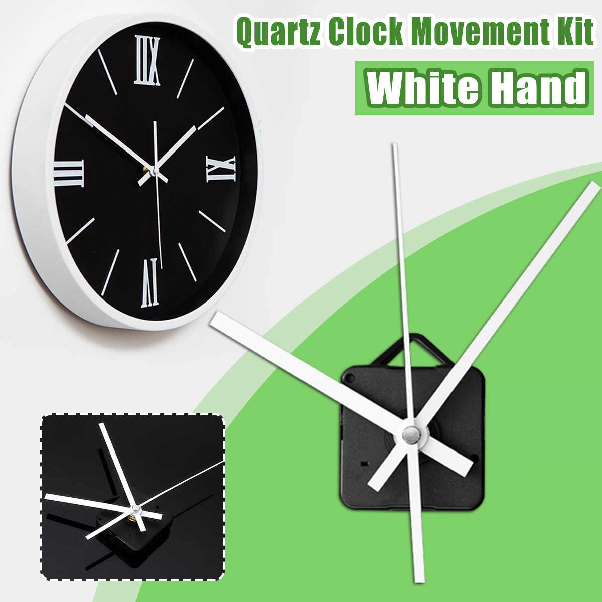 Mute Quartz Wall Clock Movement Mechanism Motor DIY Repair Kit Long White Hands