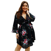 цены 2019 Summer Floral Print Dress Women Casual Large Sizes Sexy Low V Neck Chiffon Dress Ladies Bell Sleeve Lace Up Dresses