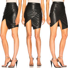 NEW Sexy Women PU Leather High Waist Irreugular Split Pencil Bandage Short Mini Skirts Club Party Stylish Black Skirt(China)
