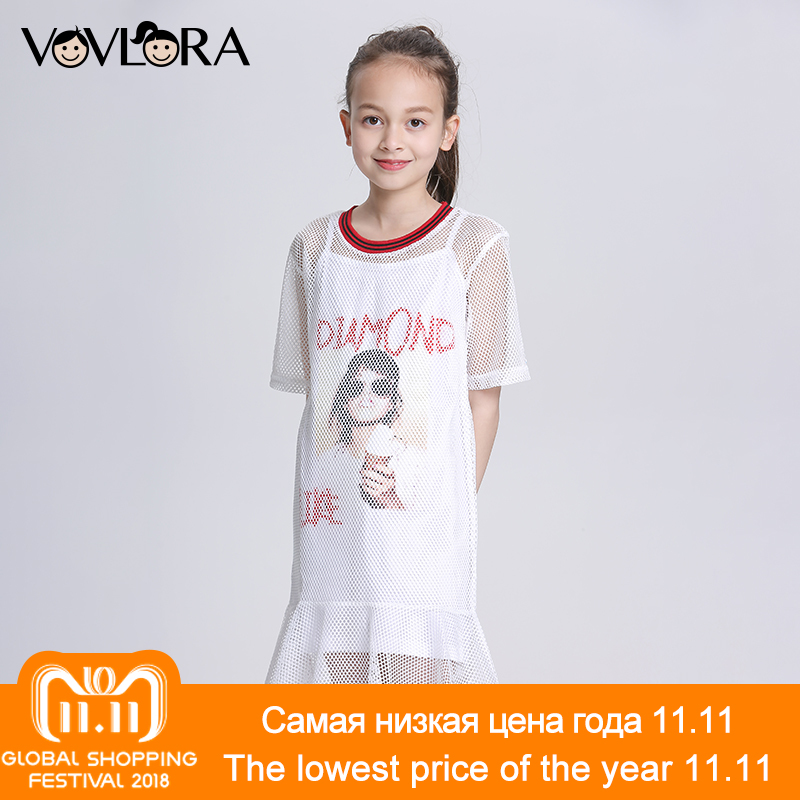 Two Piece Mesh Ruffles Kids Dress Print A Line O Neck Girls Dress Casual Summer 2018 Children Clothes Size 9 10 11 12 13 14 Year