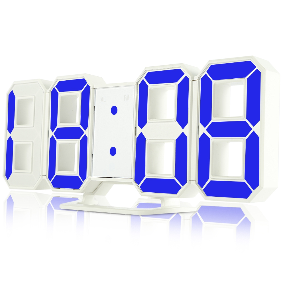 3D LED Digital Alarm Clocks 24 / 12 Hours Display 3 Brightness Levels Dimmable Nightlight Snooze Function for Home Kitchen Offic image