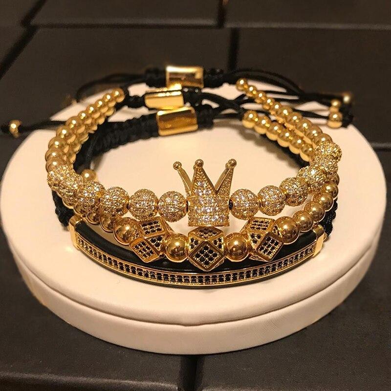 3 pçs/set Homens Pulseira jóias da coroa encantos contas Macrame Pulseiras para mulheres pulseira masculina pulseira feminina presentes de Feriado