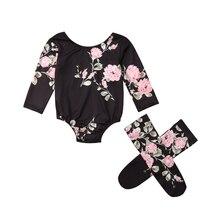 Pudcoco 2PCS Toddler Children Newborn Baby Girl  Floral Bodysuit+Socks Clothes Set Outfits Sunsuit 0-18M