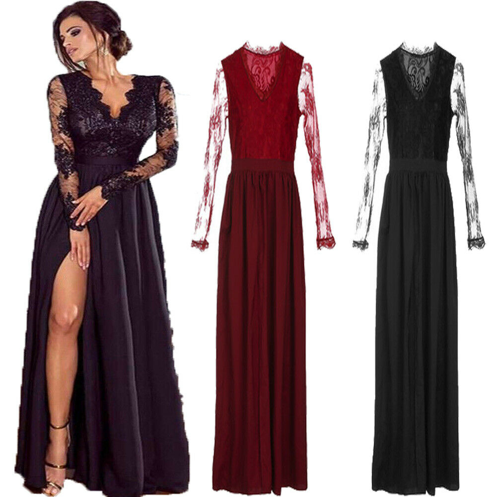 Women Lace Evening Party Ball Prom Gown Formal Cocktail Wedding Long Dress