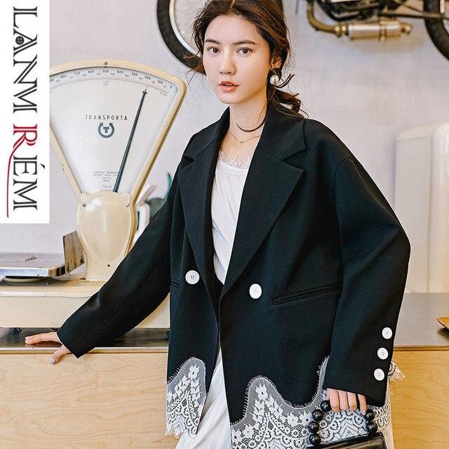 LANMREM 2019 New Fashion Design Lace Patchwork Hemline Personality Office Style Blazers Female's Contrast Color Jacket YG61501