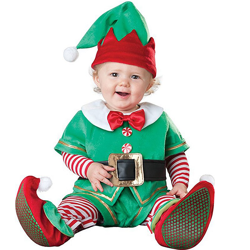New Infant Toddlers Baby Boys Girls Green Christmas Elf Costume Halloween Party Cosplay Costumes for Christmas Purim Holiday in Boys Costumes from Novelty Special Use
