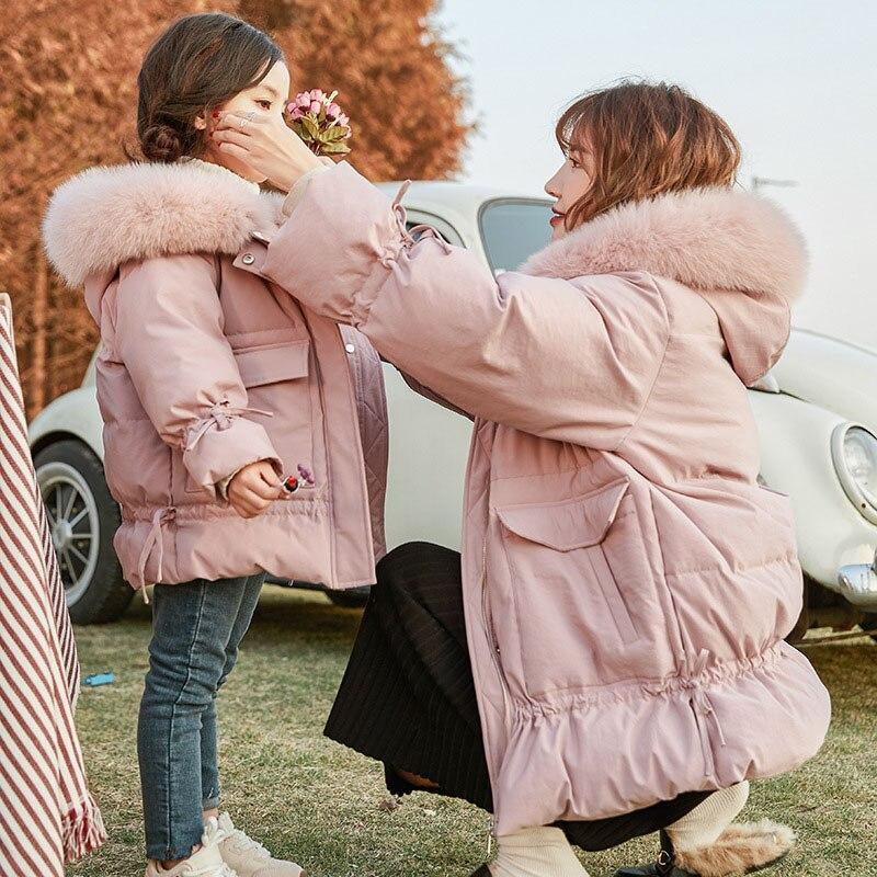 Fille hiver veste coréenne grande taille Parent-enfant doudoune mère et fille grand col en fourrure femmes manteau pardessus rose Parkas
