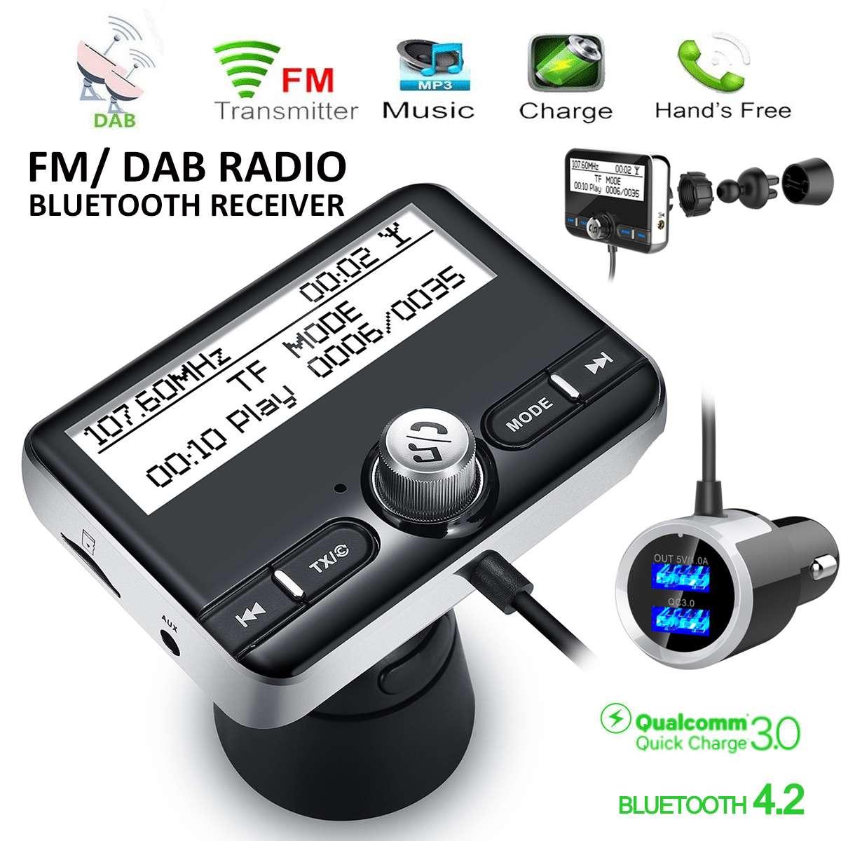 Récepteur Radio dans la voiture DAB Tuner adaptateur USB transmetteur bluetooth FM antenne AUX affichage LCD Radio numérique lecteur de musique Portable