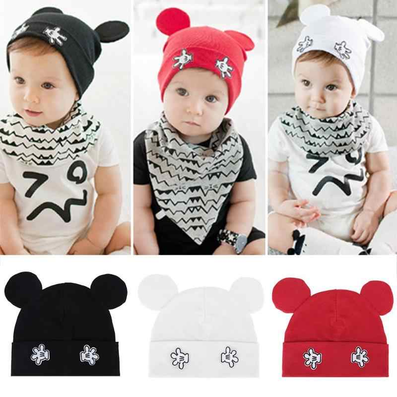Baby Flanging Print Hats Newborn Cartoon Hats Lovely Mouse Infant Boys Girls Autumn Winter Warm Knitted Caps Beanie Outdoor Prop