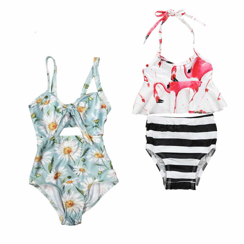 2019 Brand New Kids Baby Girl Flamingo Tops Dress Striped Pants Swimwear Outfit Summer / Daisy One Piece Strap Swimsuits 1-6T