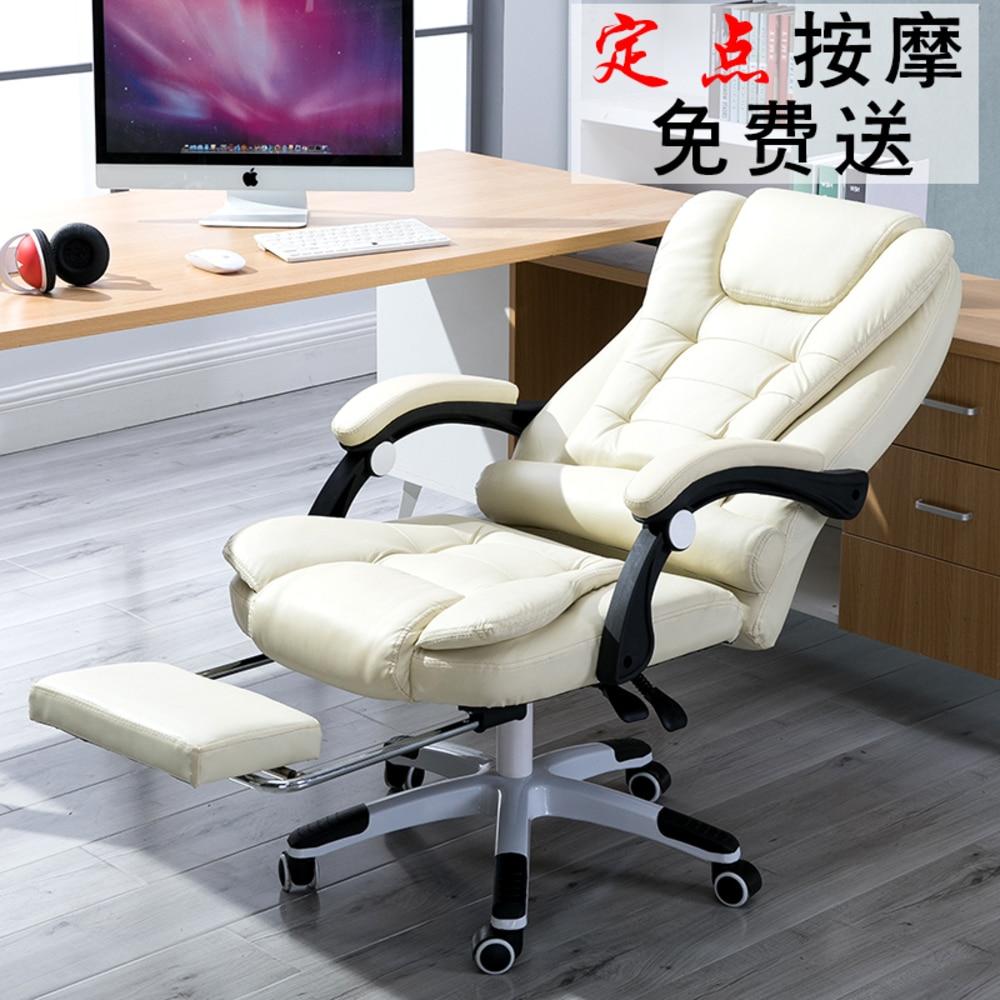 EU Trabalho Doméstico Escritório Lie Patrão jogo de Massagem Apoio Para Os Pés de Elevação Giratória Principal Arte Genuína jogo de computador ergonômico Cadeira de couro RU