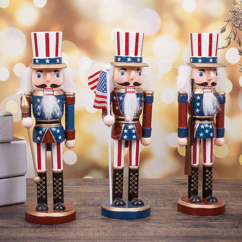 Home Decoration Nutcracker King S 25cm Wooden Nutcracker Doll  Vintage Handcraft Puppet Ornaments Christmas Gifts