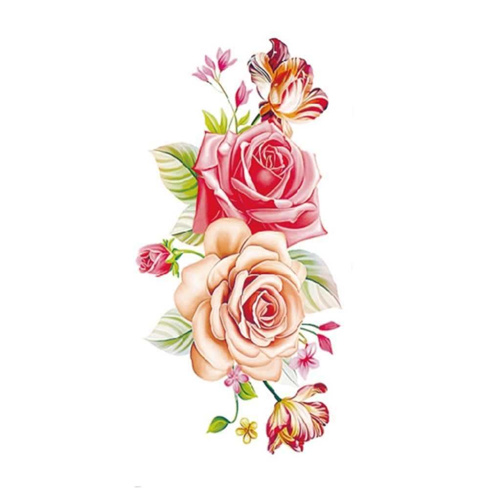 1 قطعة حجم كبير روز الوشم الفن الزهور المؤقتة الوشم ملصقات مثير النساء الذراع الكتف الجسم للماء فلاش لصاقات وشم