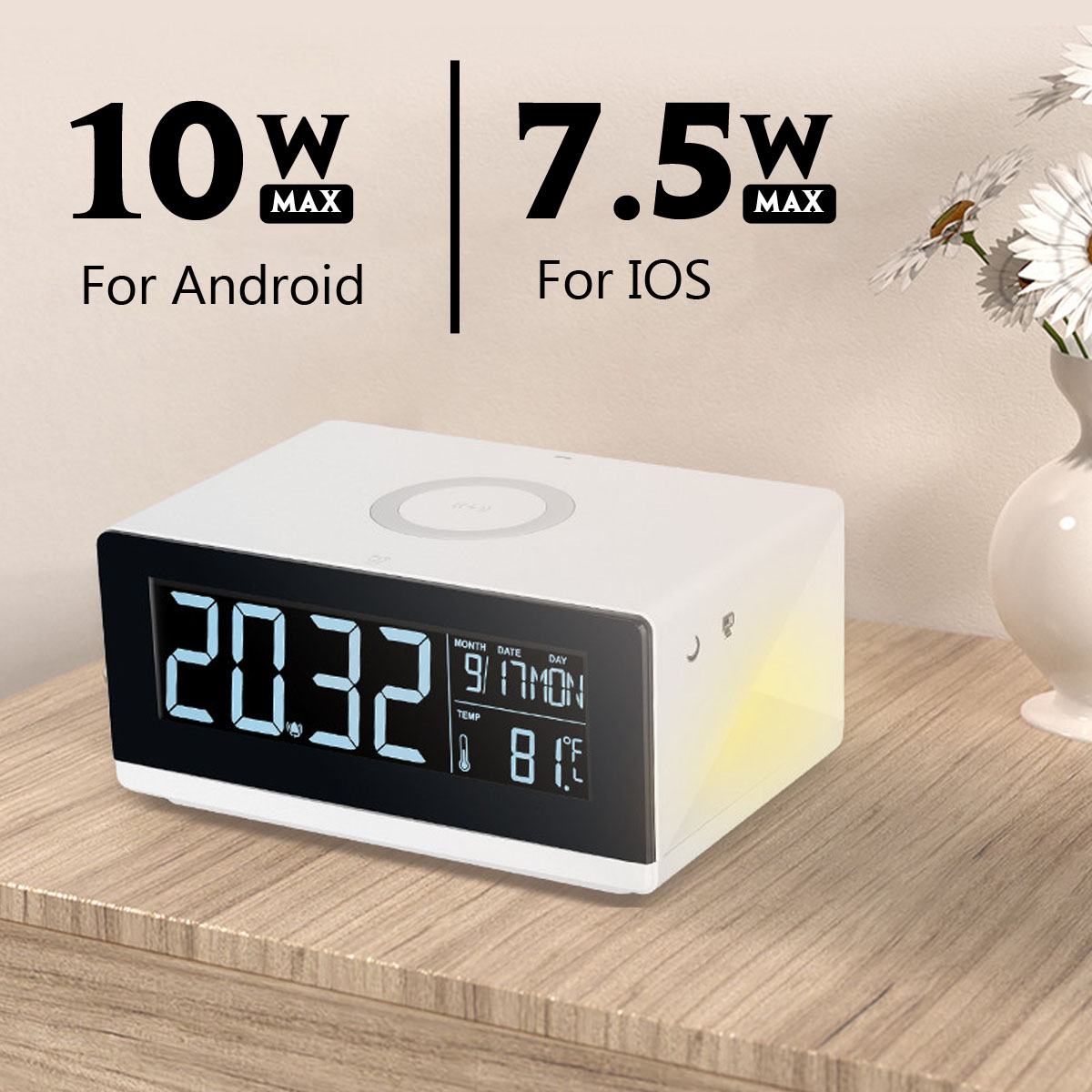 Modern Digital Electric LED Alarm Clock with Wireless Charger Desktop Thermometer HD Mirror Clock with Time MemoryModern Digital Electric LED Alarm Clock with Wireless Charger Desktop Thermometer HD Mirror Clock with Time Memory