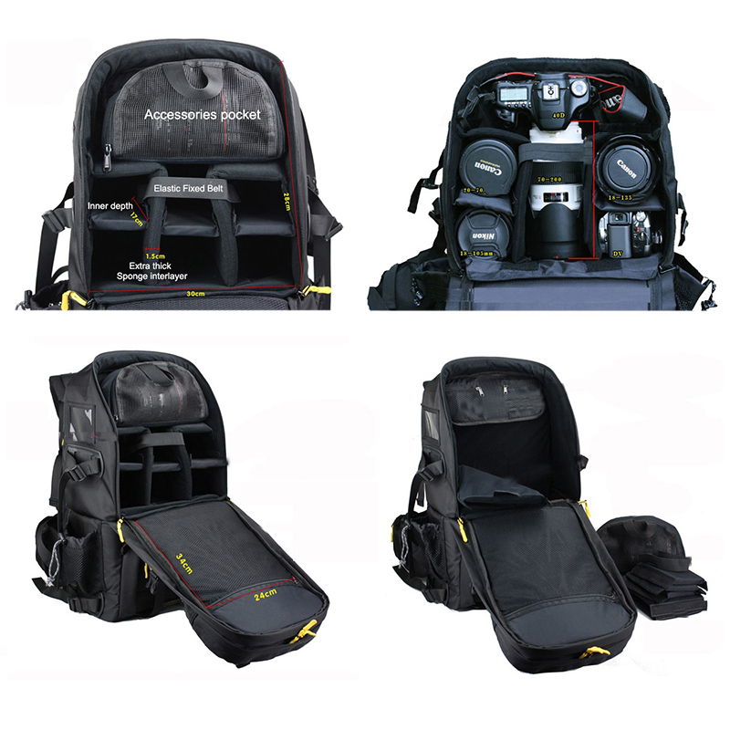 Large Capacity DSLR Camera Bag Waterproof Travel Camera Backpack Shockproof Professional Photography Bags for Camera Lens Flash