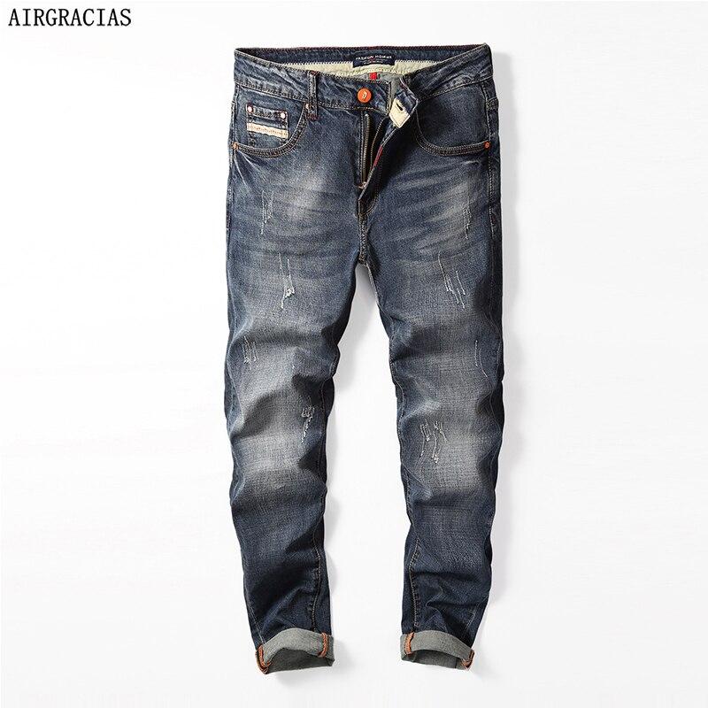 AIRGRACIAS Famous Brand Designer Jeans Men Straight Dark Blue Color Cotton Mens Jeans Ripped Jean Male Clothes Size 28-40