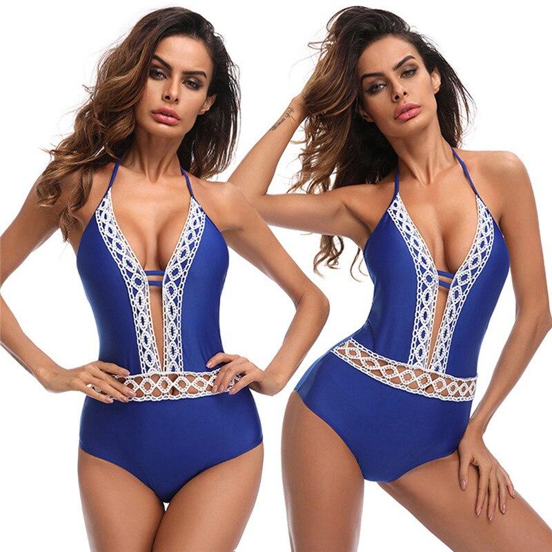 Solid One-Piece Swimsuit Women Backless Deep V Neck Lace Push Up Sexy Bodysuits 2019 Lady Beach Bathing Suit Swimwear Monokini