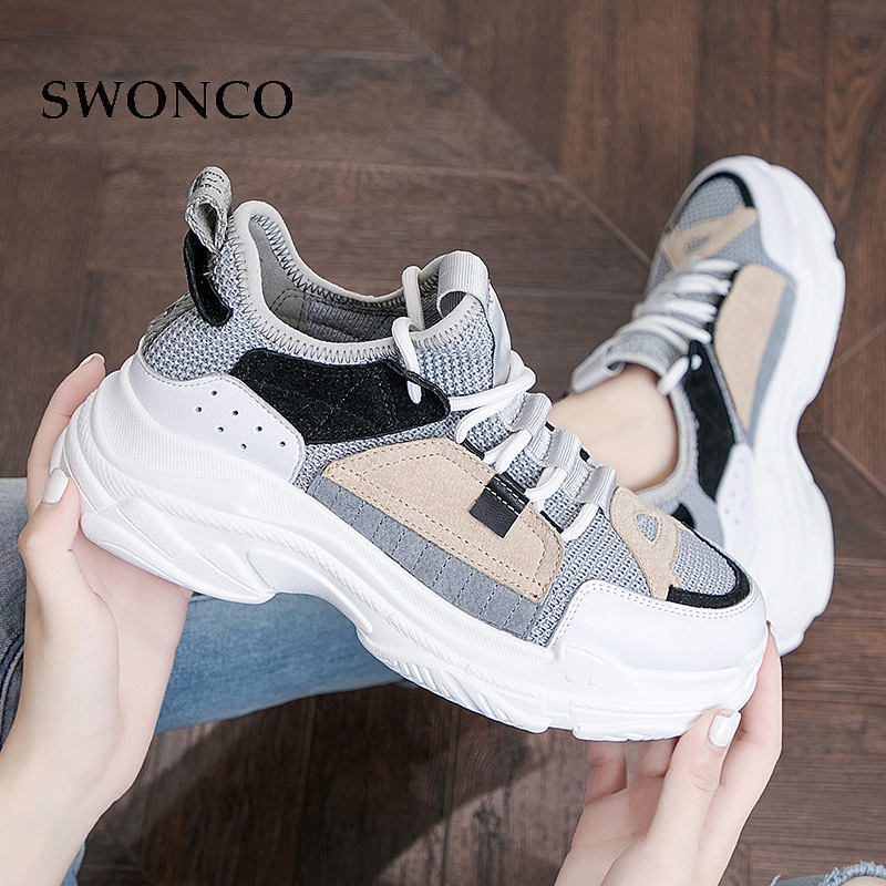 D'été Papa Bleu Haut vert Swonco Causal Épais Gris Femmes 2019 Pour forme Sneakers Conception Wedge Chaussures Respirant De Plate Femme Talon qvvxYwtf8