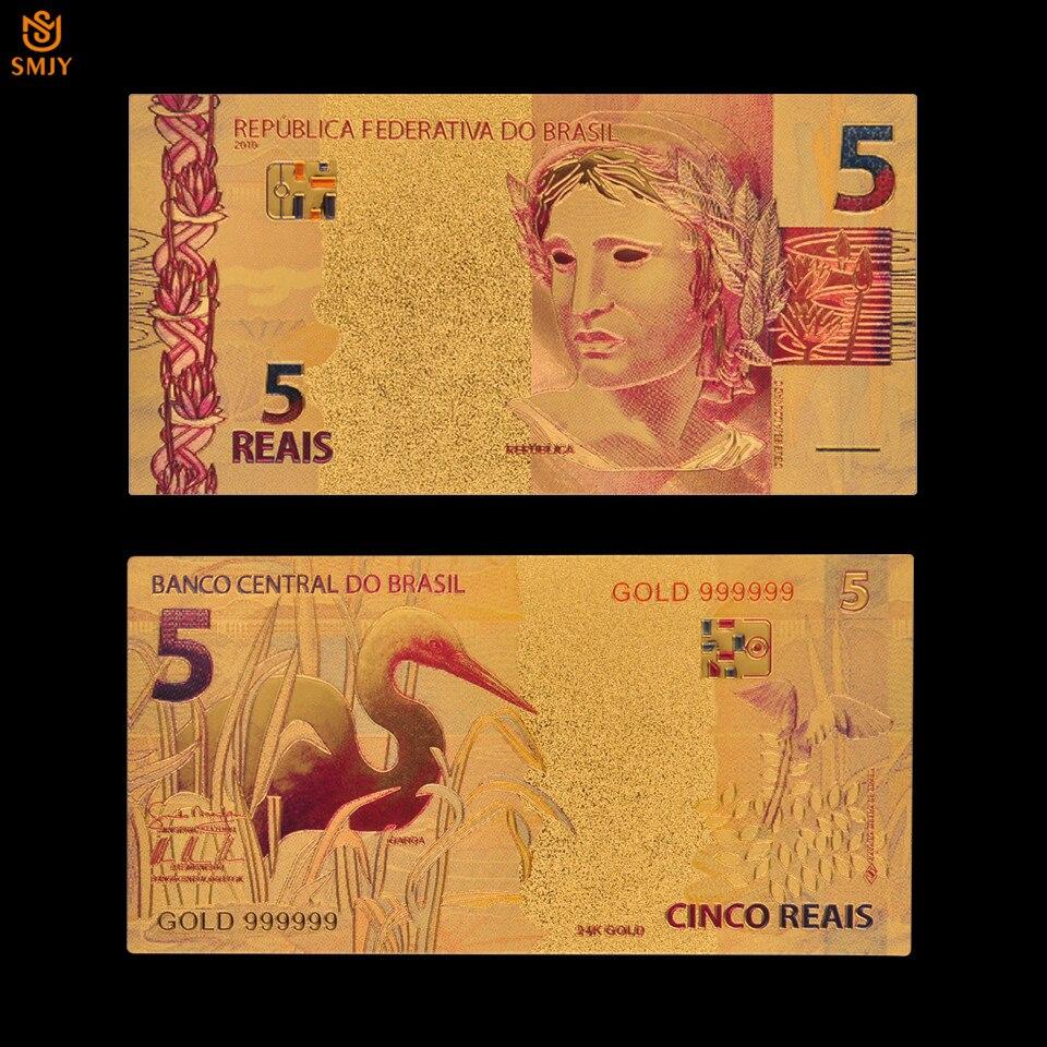 Moeda de papel chapeada a ouro 24 k para a coleção papel do dinheiro do ouro da lembrança da cor brasil 5 reals