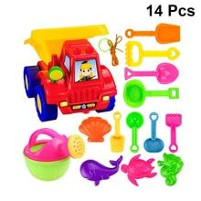 14PC Educational Leisure Beach Set Toys Burr-Free Green Car No Burr Sand Game Toys Plastic Tool for Children Kids