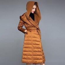 Inverno fino para baixo jaqueta mulher com capuz longo pato branco para baixo jaqueta espessamento senhoras cintura ajustável oversize para baixo casaco 20188004