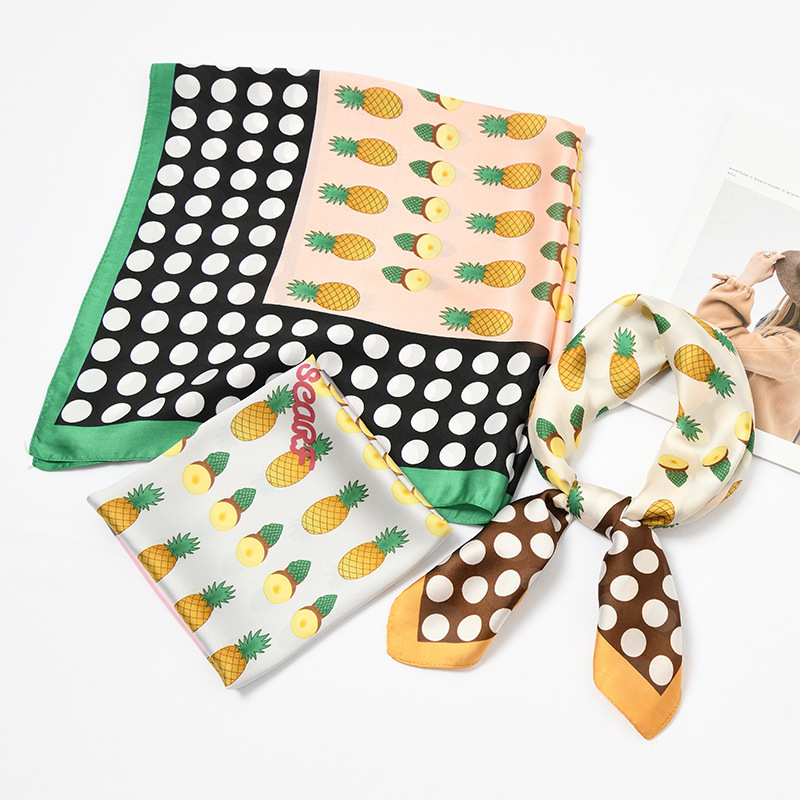 Fashion Women Dots Pineapples Print Ties Small Chevron Summer Fruits   Scarves   Women's   Wrap   Handkerchief Bandana Accessories