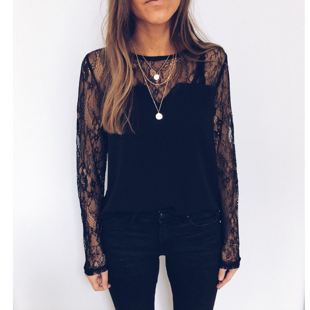 Women's Clothing New Spring Ladies Black Blusas Womens Long Sleeve O Neck Lace Crochet Sleeve Tops Blouses Women Clothing Feminine Blouse Without Return