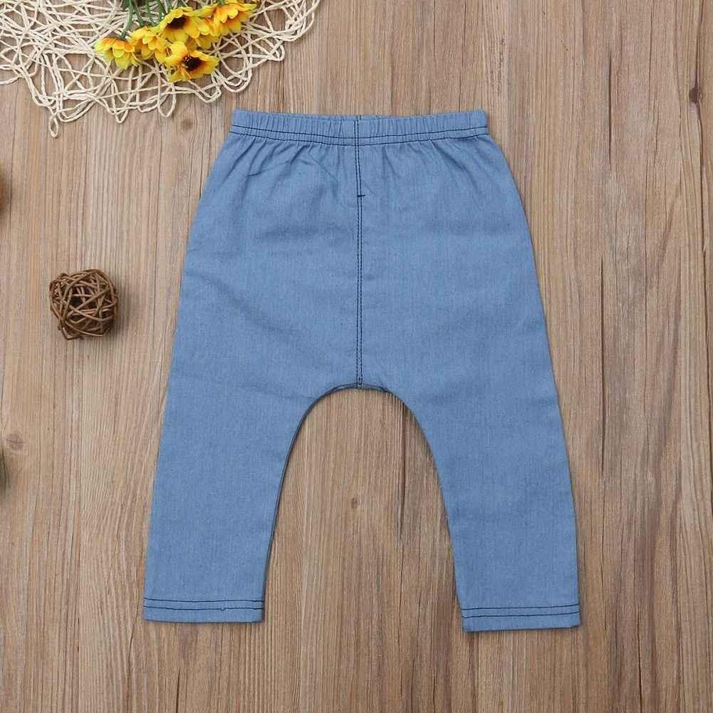 Ropa infantil para niños y niñas dibujos animados osos ropa de mezclilla pantalones largos pantalones para niños 0-3 años