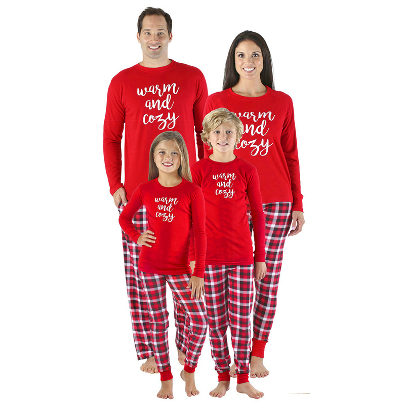 Women Family Christmas Pajamas Sets Letters Print Long Sleeve family matching clothes Plaid Pants Sleepwear Nightwear Outfits