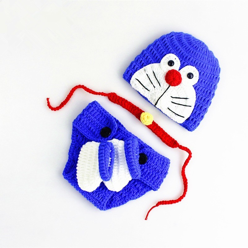 Newborn Photography Props Baby Clothes Photography Doraemon Knitted Hat+Bell+Pants+Shoes Set Baby Photo Props Shoot Accessories