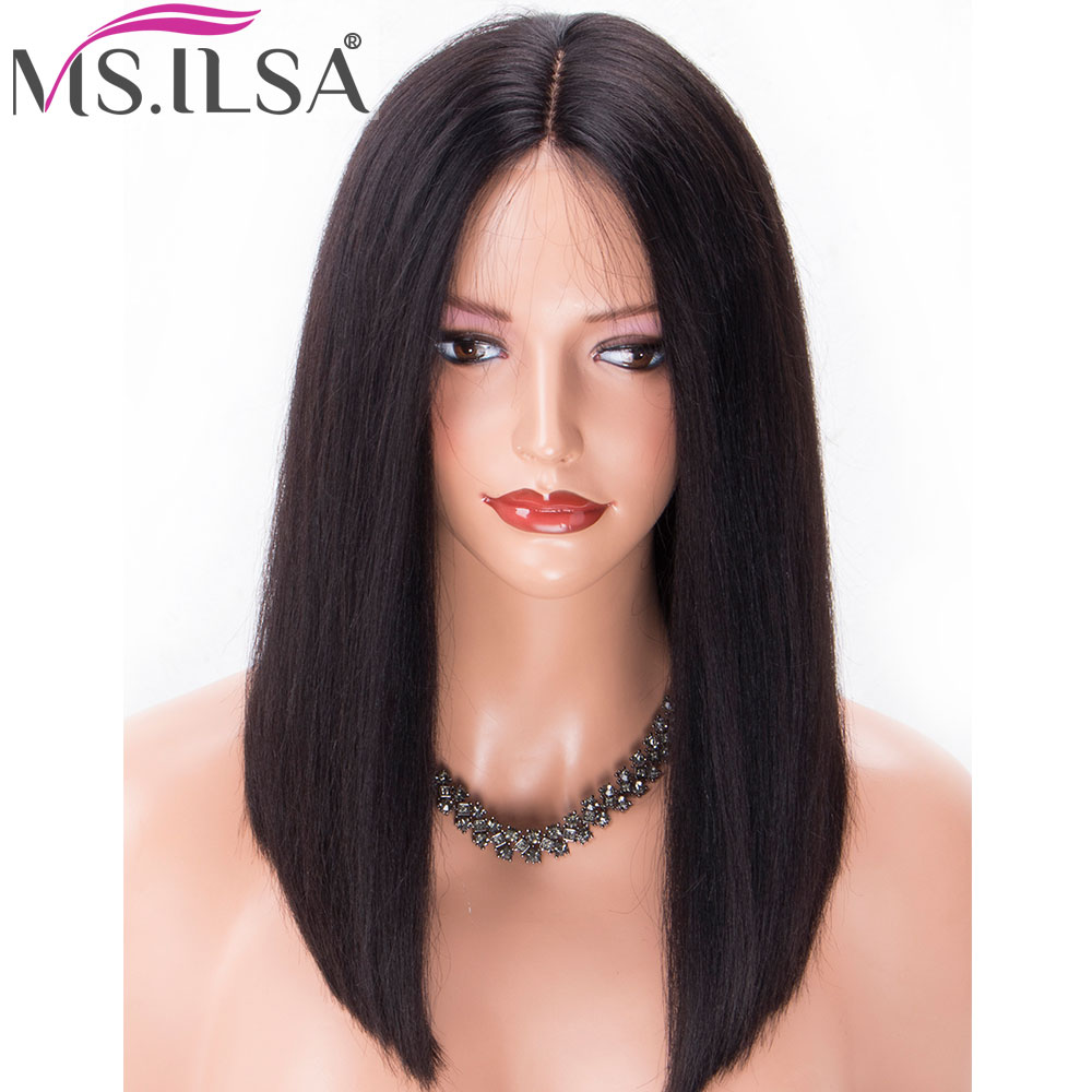 Straight Short Bob Lace Front Human Hair Wig With Baby Hair 4 Inches Parting Pre Plucked Lace Front Wigs For Black Women MS.ILSA