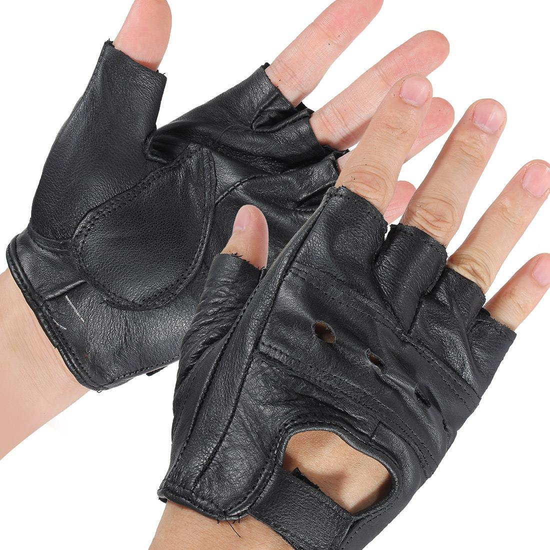 2pcs M Black Medium Fingerless Leather Motorcycle Glove Vented Cowhide Multi-use Half Finger Leather2pcs M Black Medium Fingerless Leather Motorcycle Glove Vented Cowhide Multi-use Half Finger Leather