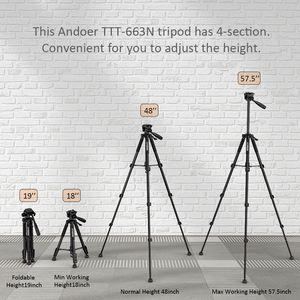 Image 5 - Andoer 2 Choice 57.5inch Travel Lightweight Camera Tripod for Video Shooting DSLR SLR Camcorder with Carry Bag Phone Clamp
