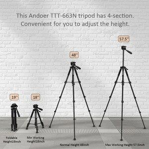 Image 5 - Andoer trípode ligero de viaje para cámara, 2 opciones, 57,5 pulgadas, para Grabación de Vídeo, DSLR, videocámara SLR, con bolsa de transporte, abrazadera para teléfono