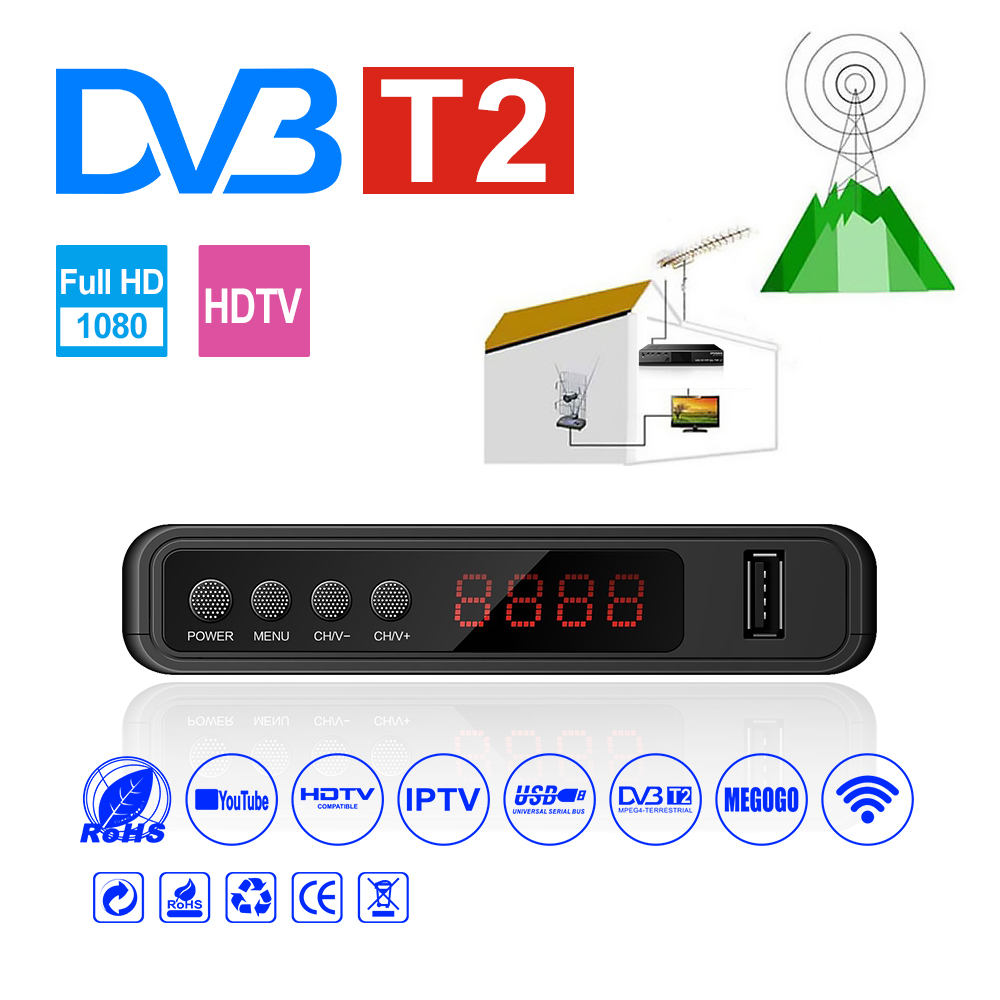 HDMI Satellite Tv Receiver Tuner Dvb T2 Wifi Usb2.0 Full-HD 1080P Dvb-t2 Tuner TV Box Dvbt2 Built-in Russian Manual With Antenna(China)