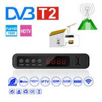 HDMI receptor de Tv por satélite sintonizador Dvb T2 Wifi Usb2.0 Full-HD 1080P Dvb-t2 sintonizador de TV Box Dvbt2 incorporado manual ruso con antena