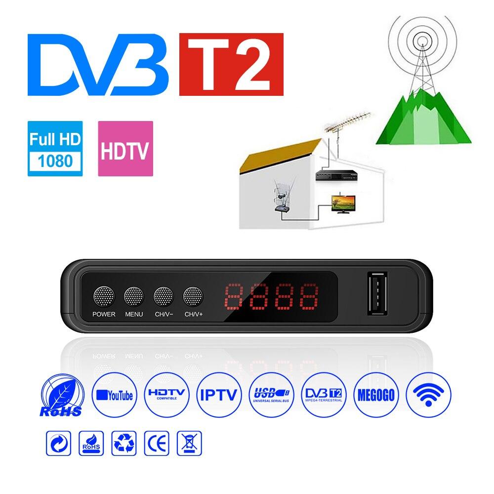 Récepteur Tv Satellite HDMI Tuner Dvb T2 Wifi Usb2.0 Full HD 1080P Dvb-t2 Tuner TV boîtier Dvbt2 intégré manuel russe avec antenne