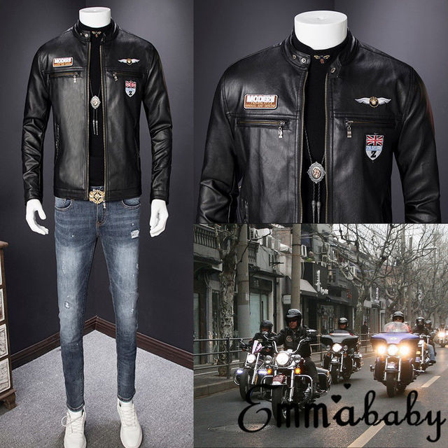 d1a721c29 US $8.7 12% OFF 2019 New Arrival Mens Black Fashion motorcycle Leather  Jacket Men's Zipper Faux Leather Jacket Coats M 3XL-in Faux Leather Coats  from ...